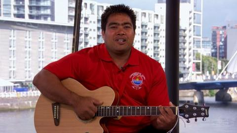 Kiribati weightlifter David Katoatau sings in the BBC studios