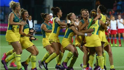 The Australia women's hockey team celebrate after winning gold at the Commonwealth Games