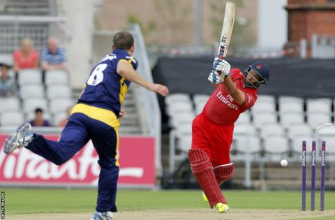Graham Wagg takes the wicket of Ashwell Price as Glamorgan's delayed T20 Blast quarter-final against Lancashire finally got underway at Old Trafford.