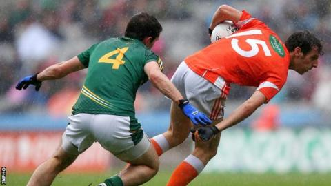 Meath's Donal Keogan and Armagh's Jamie Clarke