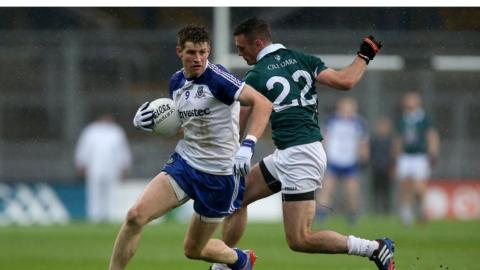 Darren Hughes wheels away from Eoin Doyle as Monaghan secure their first win in a Championship game at Croke Park since 1930