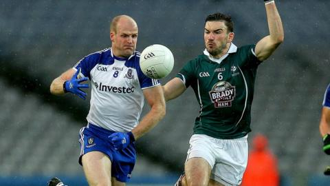 Dick Clerkin and Fergal Conway keep their eyes on the ball as Monaghan beat Kildare 2-16 to 2-14 to book a quarter-final against Dublin