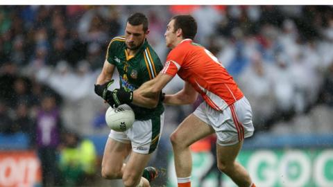 Michael Newman and Brendan Donaghy in action during Armagh's Round 4B qualifier success over Meath