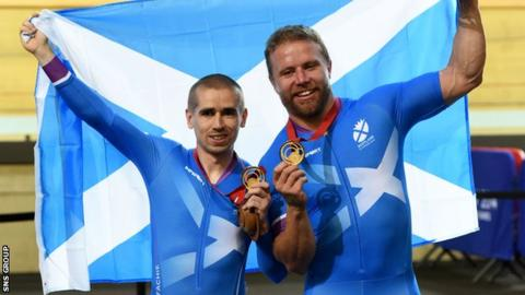 Neil Fachie and Craig MacLean (right) struck gold twice for Scotland at the Games