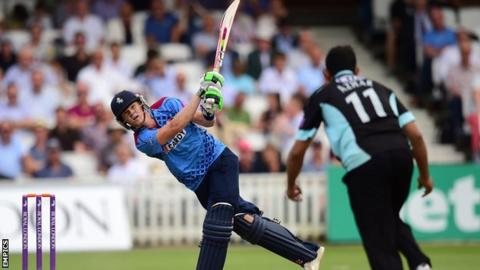"Kent""s Sam Billings hits a six during his innings"
