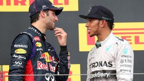 Daniel Ricciardo and Lewis Hamilton