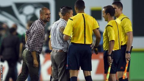 Pep Guardiola shouts at officials