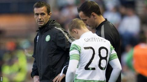 Celtic manager Ronny Deila and forward Leigh Griffiths