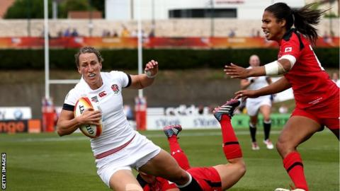 England's Katherine Merchant (left) and Canada's Magali Harvey