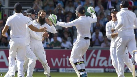 Moeen Ali celebrates another wicket at Old Trafford