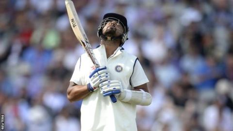 Murali Vijay after his dismissal in the fourth Test at Old Trafford