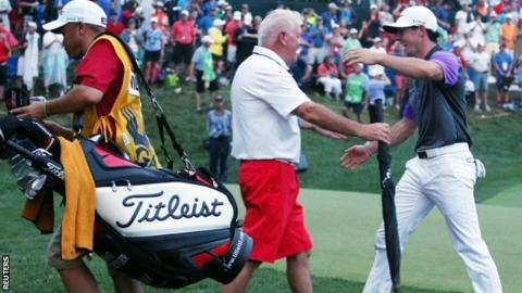 Rory McIlroy and father Gerry celebrate