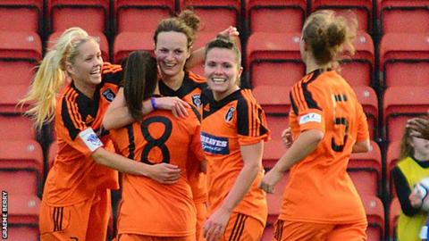 Glasgow City players celebrate during the 5-0 win over Nove Zamky.
