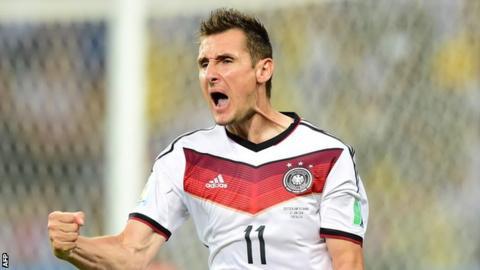 Germany's all-time leading goalscorer Miroslav Klose