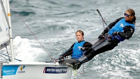 Hannah Mills and Saskia Clark of Great Britain sail on the Copacobana course