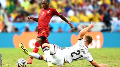 Christian Atsu in World Cup action for Ghana