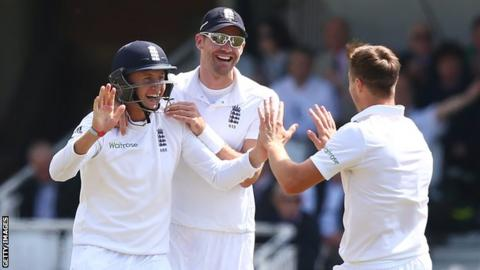 Joe Root, James Anderson and Chris Woakes
