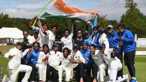India's women celebrate their Test victory over England