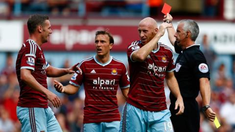 But another Wales defender, James Collins, is sent-off during West Ham's game against Tottenham Hotspur.