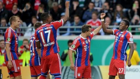 David Alaba celebrates his goal with Holger Badstuber, Philipp Lahm, Jerome Boateng and Xherdan Shaqiri