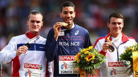 Chris O'Hare (right) stands on the European 1500m podium beside winner France's Mahiedine Mekhissi-Benabbad and second-placed Henrik Ingebrigtsen of Norway