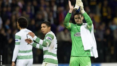 Goalkeeper Craig Gordon applauds the Celtic fans in Slovenia