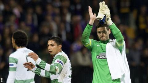 Craig Gordon applauds the Celtic fans after the draw in Slovenia