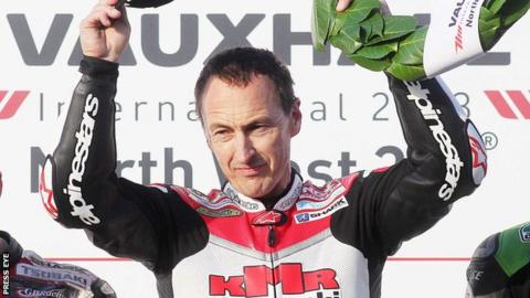 Jeremy Williams celebrates his North West 200 win last year