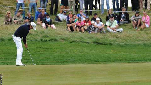 Jamie Donaldson putts on day three of the Czech Masters in Prague, Czech Republic after going into the round in the lead
