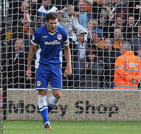 Mark Hudson screams after scoring the own goal that meant a 1-0 Championship defeat at Wolverhampton Wanderers