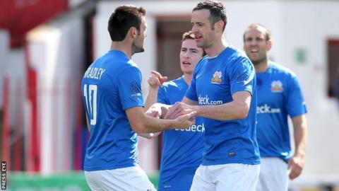 Eoin Bradley congratulates Ciaran Martyn