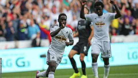 Swansea City winger Nathan Dyer celebrates after scoring the only goal of the game in the victory over Burnley.