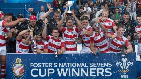Llandovery celebrate after winning the Foster's National Sevens at Cardiff Arms Park, beating Pontypridd in the final.