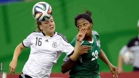 Joelle Wedemeyer of Germany and Uchechi Sunday of Nigeria