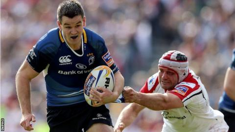 Jonathan Sexton is tackled by Ulster;s Rory Best while playing for Leinster