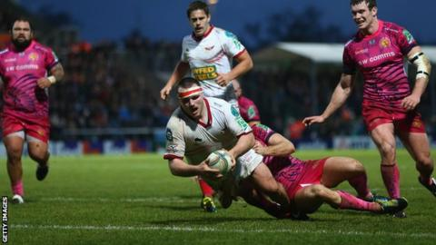 Ken Owens goes over for a try against Exeter Chiefs