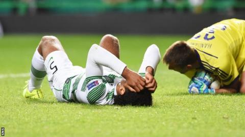 Celtic defender Virgil van Dijk and NK Maribor goalkeeper Jasmin Handanovic