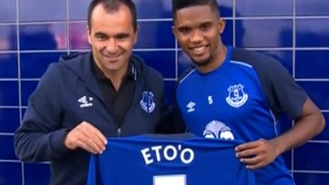 Everton manager Roberto Martinez and Samuel Eto'o