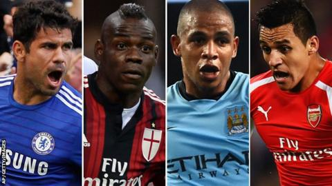 Diego Costa, Mario Balotelli, Fernando and Alexis Sanchez