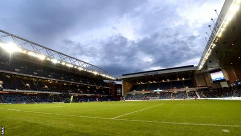 Ibrox Stadium playing host to a Rangers v Clyde cup match