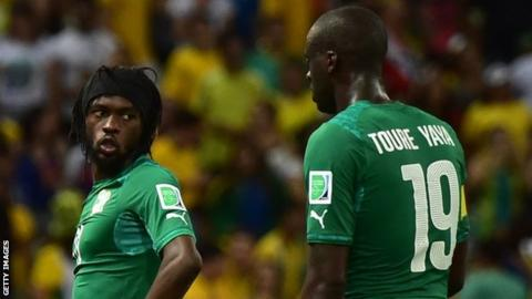 Ivory Coasts's Gervinho and Yaya Toure