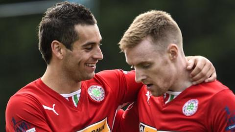 Cliftonville's David McDaid and Chris Curran