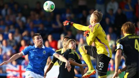 Action from the Europa League game at Mourneview Park