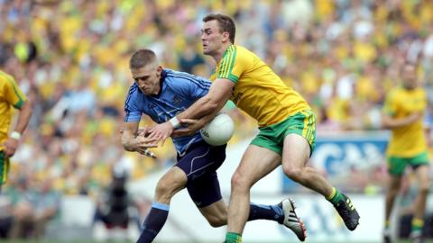Eoghan O'Gara and Eamonn McGee in action as Donegal secure a six-point win over the Dubs in the All-Ireland semi-final
