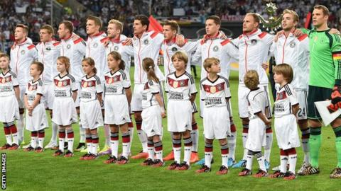 Germany line up ahead of the game against Argentina