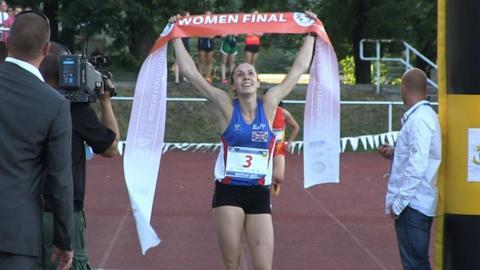 Samantha Murray crosses the finish line at the modern pentathlon world championships