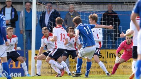Anthony Marenghi scores for Stranraer against Falkirk