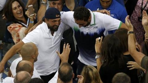 Marin Cilic embraces Goran Ivanisevic