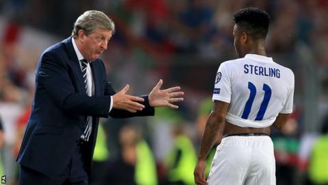 England manager Roy Hodgson (left) and forward Raheem Sterling