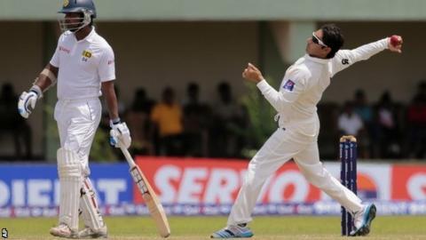Pakistan's Saeed Ajmal bowling against Sri Lanka in August 2014